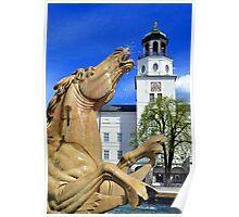 Horse Fountain in Salzburg Austria Poster