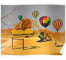 Hot Air Balloons over College Hill Park Poster