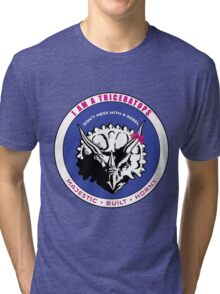 I AM A TRICERATOPS - Pink/Blue MBH Tri-blend T-Shirt