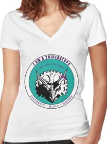 I AM A TRICERATOPS - Teal/Purple MBH Women's Fitted V-Neck T-Shirt
