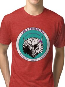 I AM A TRICERATOPS - Teal/Purple MBH Tri-blend T-Shirt