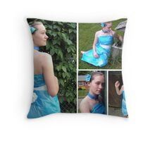 Little Blue Dress Cont. Throw Pillow