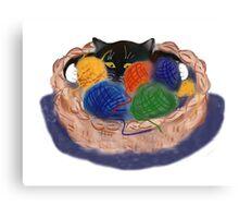 Kitten in Yarn Basket Canvas Print