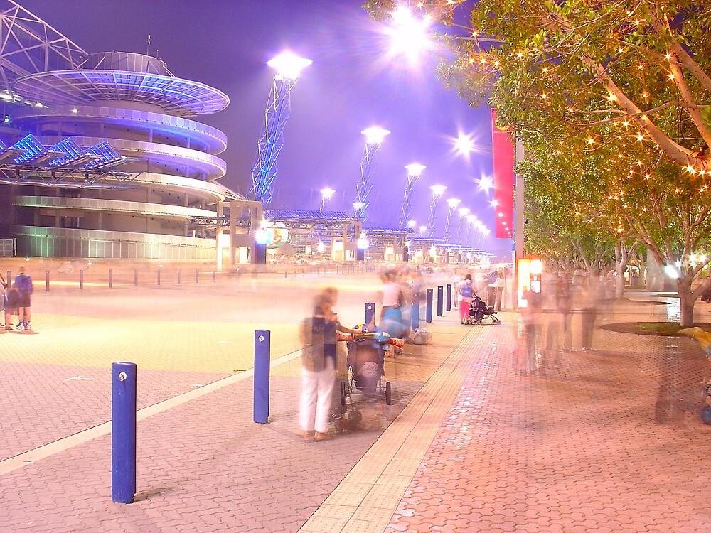 Telstra Stadium at night by natwest