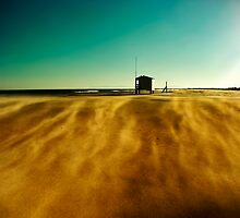 Beach hut in sandy wind by paulgrand