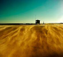 Beach hut in sandy wind by paulgrand