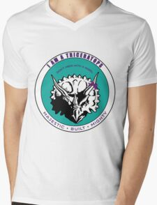 I am A Triceratops - Purple and Teal MBM Mens V-Neck T-Shirt