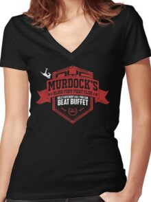 Murdock's Blind Fury Fight Club - Dist Red/White V02 Women's Fitted V-Neck T-Shirt