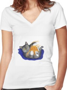 Orange Ball of Yarn and Kitty Women's Fitted V-Neck T-Shirt