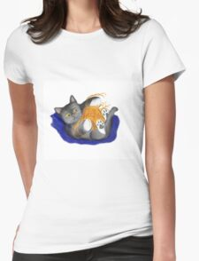 Orange Ball of Yarn and Kitty Womens Fitted T-Shirt