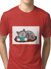 Yarn Pillow for Kitten Nap Tri-blend T-Shirt