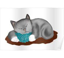Yarn Pillow for Kitten Nap Poster