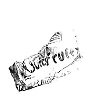 Crumpled gum package drawing Photographic Print