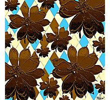 Magnolia Flowers Brown and Blue Photographic Print
