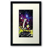 Calvin And hobbes in Nebula Framed Print