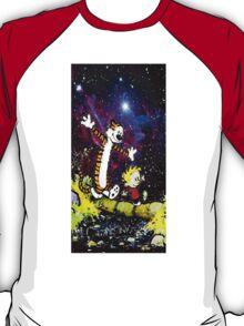 Calvin And hobbes in Nebula T-Shirt