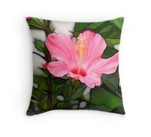 Stained Glass Texure-Hibiscus Throw Pillow