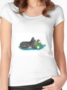 Kitten and Mouse Nap on Green Yarn Ball Women's Fitted Scoop T-Shirt