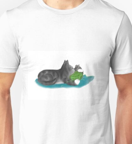 Kitten and Mouse Nap on Green Yarn Ball Unisex T-Shirt