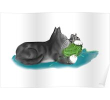 Kitten and Mouse Nap on Green Yarn Ball Poster