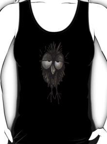 Funny Sleepy Owl on Black T-Shirt