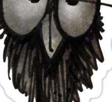 Funny Sleepy Owl on Black Sticker