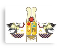 Ramesses the Great's Cartouches with adoring Rekhyt Birds Canvas Print