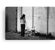Woman With Dalmatians Canvas Print