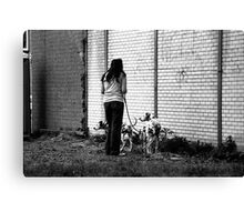 Woman With Dalmatians II Canvas Print
