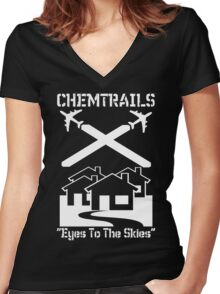 Chemtrails - Eyes To The Skies Women's Fitted V-Neck T-Shirt