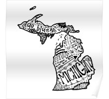 Hipster State of Michigan Outline Poster
