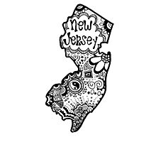 Hipster New Jersey Outline Photographic Print