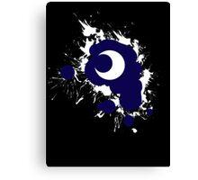 Lunar Splat (white paint, black background) Canvas Print