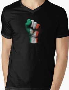 Flag of Mexico on a Raised Clenched Fist  Mens V-Neck T-Shirt