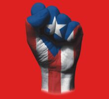 Flag of Puerto Rico on a Raised Clenched Fist  One Piece - Short Sleeve