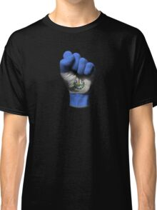Flag of El Salvador on a Raised Clenched Fist  Classic T-Shirt