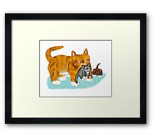 Kitty gets a ride from Momma Framed Print