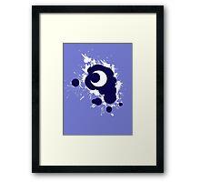 Lunar Splat (white paint, violet background) Framed Print