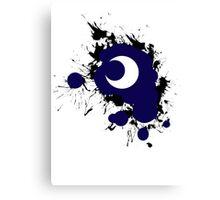 Lunar Splat (black paint, white background) Canvas Print