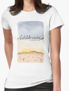 """""""Wilderness"""" Watercolor Print Womens Fitted T-Shirt"""