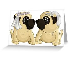 Bride Pugs Greeting Card