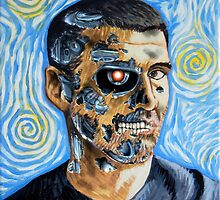 My Van Gogh/T-800 self portrait by OscarEA