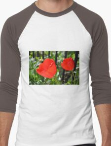 Backlit Red Tulips Men's Baseball ¾ T-Shirt