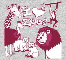 I Love Zoos (pink 2015) Kids Tee
