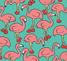 Flamingo with red boot by jeniehirose