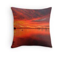 Flaming Sky - Lake Mulwala Throw Pillow