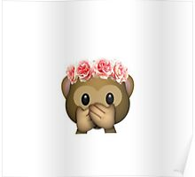 Monkey Flower Crown Emoji Poster