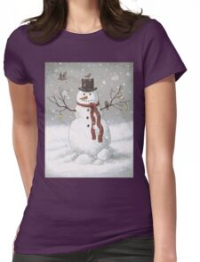 Christmas Snowman Womens Fitted T-Shirt