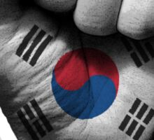 Flag of South Korea on a Raised Clenched Fist  Sticker