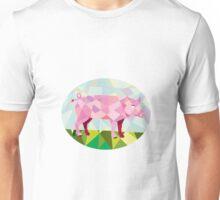 Tamworth Pig Side Oval Low Polygon Unisex T-Shirt